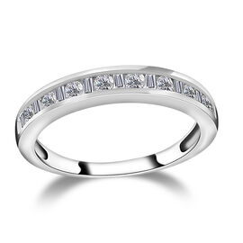 9K White Gold SGL Certified Diamond (Rnd and Bgt) (I3/G-H) Half Eternity Band Ring 0.50 Ct.