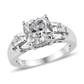 J Francis - Platinum Overlay Sterling Silver (Cush 8x8 mm) Ring Made with SWAROVSKI ZIRCONIA