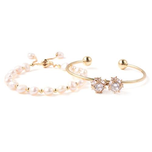 Set of 2 - Freshwater White Pearl, Simulated Diamond Bange (Size 7.5) and Adjustable Bolo Bracelet (
