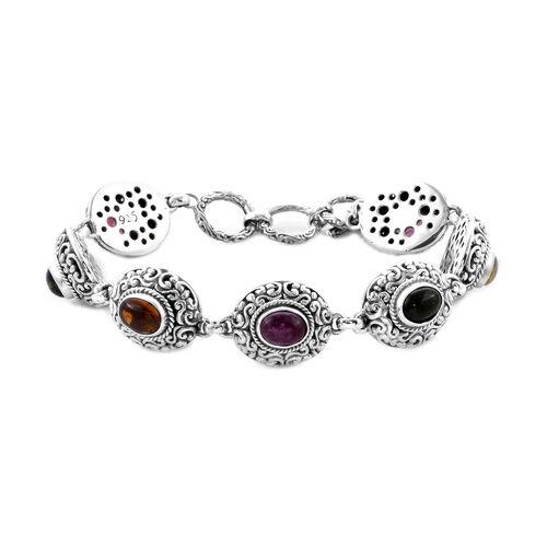 Bali Legacy Collection - Multi-Tourmaline Link Bracelet (Size 8 including Extender) in Sterling Silv
