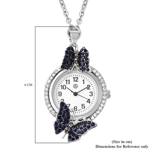 STRADA Japanese Movement White and Blue Austrian Crystal Studded Water Resistant Butterfly Pocket Watch with Chain (Size 29) in Silver Tone