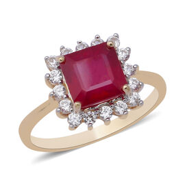 9K Yellow Gold AAA African Ruby (Oct 8x8 mm), Natural White Cambodian Zircon Ring 4.62 Ct.