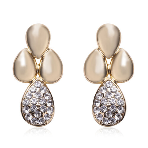 2 Piece Set - White Austrian Crystal Bangle (Size 7) and Dangle Earrings (with Push Back) in Gold Tone