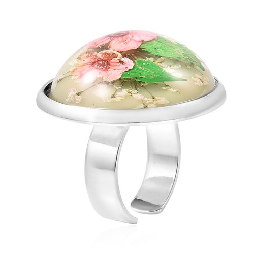 Pressed Pink Dried Flower Adjustable Ring in Silver Tone