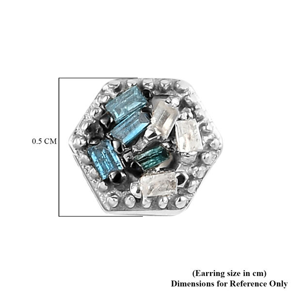 Blue and White Diamond (Bgt) Stud Earrings (with Push Back) in  Platinum Overlay Sterling Silver