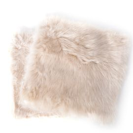 2 Piece Set -  Luxury Edition - Shaggy Pile Super Deep Faux Sheep Skin Cushione Covers (Size 45x45 Cm) Ivory