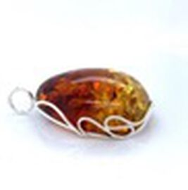 Natural Baltic Amber Pendant in Sterling Silver,