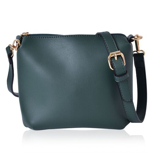 Set of 2 - Green Colour Large Handbag (Size 25X23X19.5 Cm) and Small Handbag (Size 19.5X17X9.5 Cm) with Adjustable and Removable Shoulder Strap