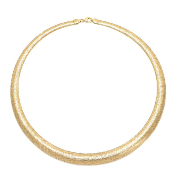 Limited Availability Italian Made 9K Yellow Gold Graduated Mesh Omega Necklace (Size 18)