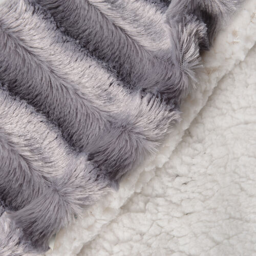 Autumn/Winter Collection - Set of 2 Silver Colour Faux Fur Sherpa Reversible Cushion Cover (45x45 cm)