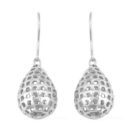 Designer Inspired- Rhodium Overlay Sterling Silver Hook Earrings