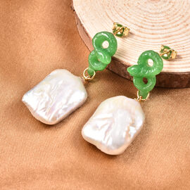 Carved Green Jade and Baroque White Pearl Dangle Earrings (with Push Back) in Yellow Gold Overlay Sterling Silver