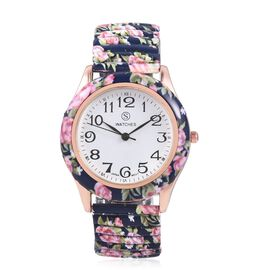 STRADA Japanese Movement Water Resistant Navy Blue Colour Floral Pattern Watch in Stainless Steel