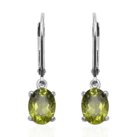 Hebei Peridot (Ovl) Lever Back Earrings in Rhodium Overlay Sterling Silver 2.60 Ct.