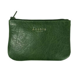 Assots London POPPY Full Grain Leather Zip Top Coin Purse (Size 12x8cm) - Green
