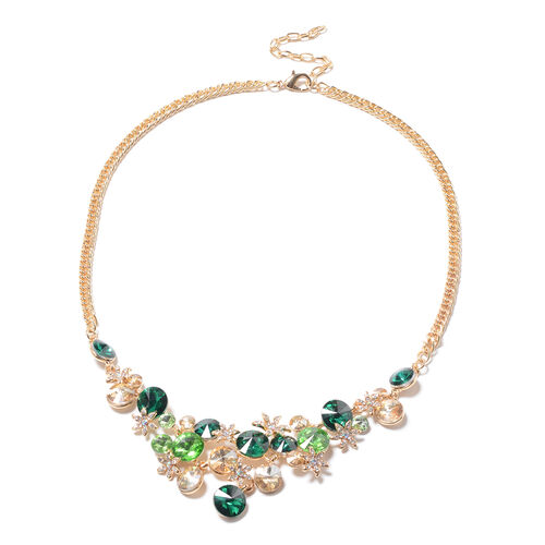 Multi Colour Simulated Gemstone and Multi Colour Austrian Crystal Necklace(Size 23.5 with Extender)