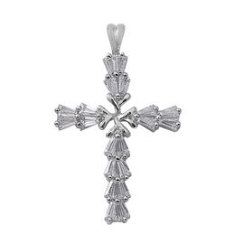 ELANZA Simulated Diamond (Bgt) Cross Pendant in Rhodium Overlay Sterling Silver