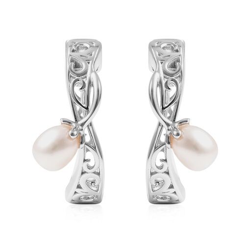 Lucy Q Filigree Collection - White Freshwater Pearl Earrings (with Clasp) in Rhodium Overlay Sterlin