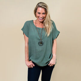 TAMSY High Low Scoop Neck Linen Top With 30 Inch Necklace (Fits Size 8-16) - Khaki