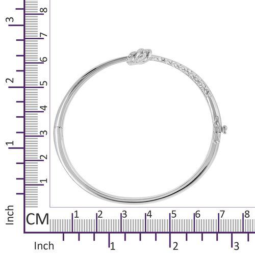 RACHEL GALLEY Lattice Twist Knot Rhodium Overlay Sterling Silver Bangle (Size 7.5), Silver wt 27.76 Gms