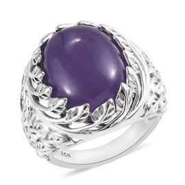 13.75 Ct Purple Jade Solitaire Ring in Platinum Plated Sterling Silver 6.53 Grams