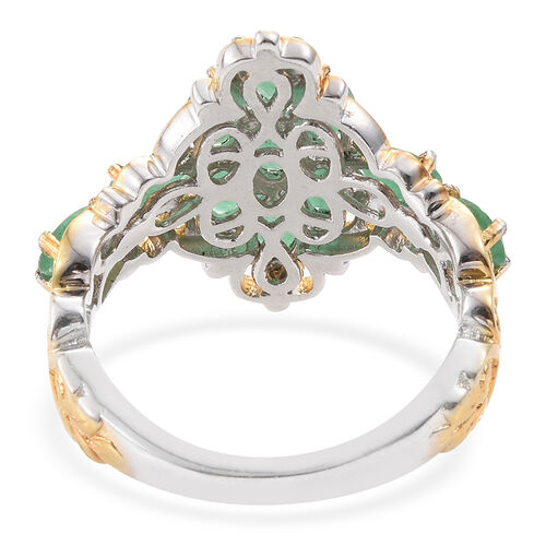 Kagem Zambian Emerald (Ovl) Ring in Platinum and Yellow Gold Overlay Sterling Silver 2.000 Ct.
