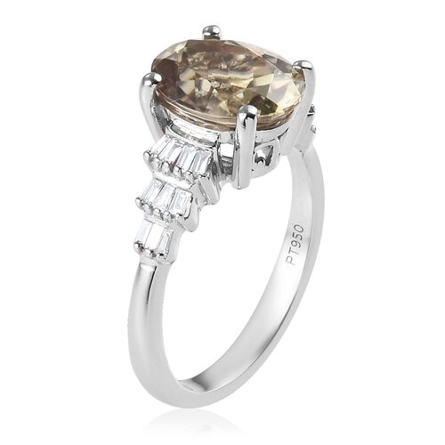 RHAPSODY 950 Platinum AAAA Turkizite (Ovl 10x8mm), Diamond (VS/E-F) Ring 3.25 Ct, Platinum wt 4.90 Gms