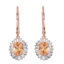 Limited Edition- Imperial Topaz (Ovl), Diamond Lever Back Earrings in Rose Gold Vermeil Sterling Silver 2.360 Ct.Diamond Wt. 0.61 Carat