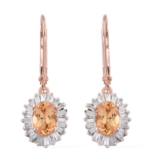Limited Edition- Imperial Topaz (Ovl), Diamond Lever Back Earrings in Rose Gold Vermeil Sterling Sil