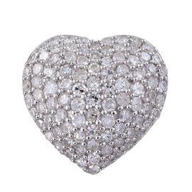 1.01 Ct Diamond Heart Cluster Pendant in 9K White Gold 2 Grams
