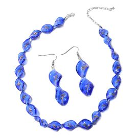 2 Piece Set - Blue Colour Murano Glass Beads Necklace (Size 20 with 3 inch Extender) and Hook Earrin