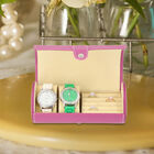 Unique Roll Style Watch and Jewellery Storage Box (Size 9x19.5cm) - Pink