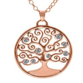 ELANZA Simulated Diamond Tree-of-Life Pendant with Chain (Size 18) in Rose Gold Overlay Sterling Sil