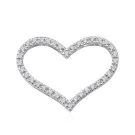 ELANZA Simulated Diamond (Rnd) Heart Pendant in Rhodium Overlay Sterling Silver