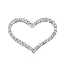 ELANZA Simulated Diamond Heart Pendant in Rhodium Plated Sterling Silver