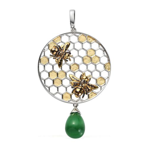 Sundays Child - Green Tiger Eye Honeycomb and Bee Pendant in Yellow Gold Overlay Sterling Silver 8.2