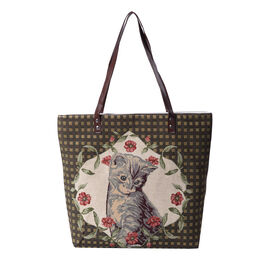 Lovely Cat Pattern Large Tote Bag (Size 35x11x39 Cm) - Brown and Multi