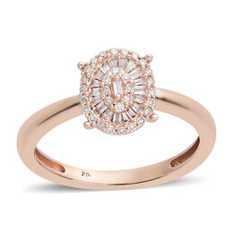 9K Rose Gold Natural Pink Diamond (Rnd and Bgt) Ring 0.250 Ct.