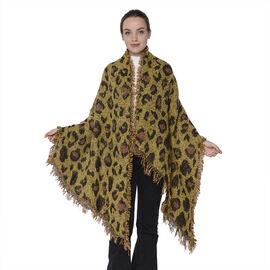 Yellow Leopard Print Scarf (Size 60x210cm)