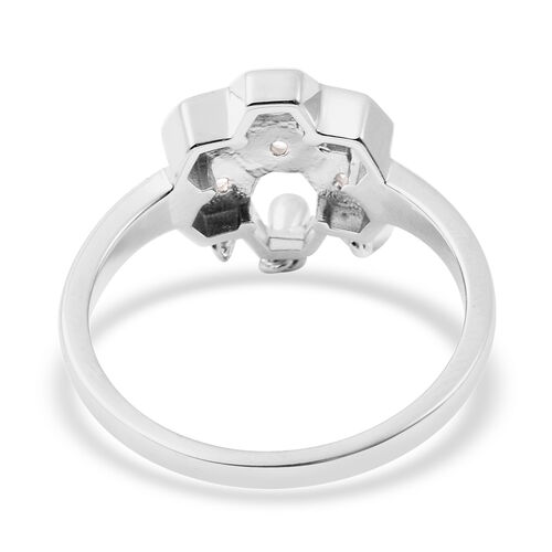 LucyQ - Natural Cambodian Zircon Honeycomb Drop Ring in Rhodium Overlay Sterling Silver