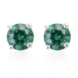 J Francis - Platinum Overlay Sterling Silver (Rnd) Stud Earrings (with Push Back) Made with Green SW