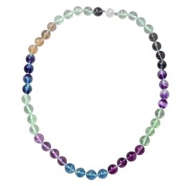 Multi Fluorite (Rnd) Beads Necklace (Size 20) in Rhodium Overlay Sterling Silver 372.00 Ct.
