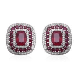 African Ruby (Cush), Natural White Cambodian Zircon Stud Earrings (with Push Back) in Rhodium Overla