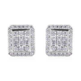 J Francis Platinum Overlay Sterling Silver Cluster Stud Earrings (with Push Back) Made with SWAROVSK