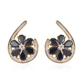 6.50 Ct Boi Ploi Black Spinel Pear and Zircon Floral Earrings in 14K Gold Plated Silver 5.12 Grams
