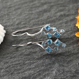 Sajen Silver GEM HEALING Collection - BlueTopaz Celestial and Doublet Quartz Hook Earrings in Rhodiu