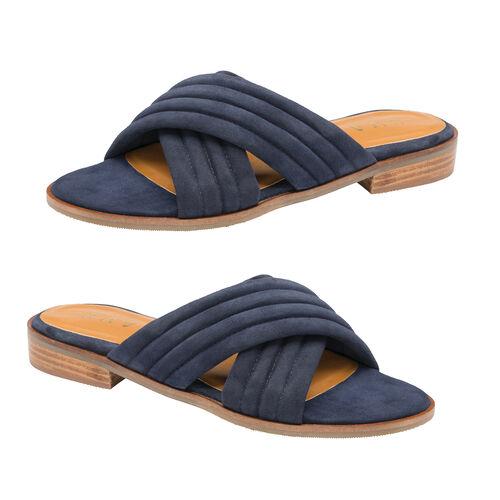 Ravel Sarina Suede Mule Sandals (Size 3) - Navy