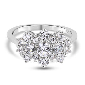 J Francis Platinum Overlay Sterling Silver Ring Made with SWAROVSKI ZIRCONIA 2.24 Ct.