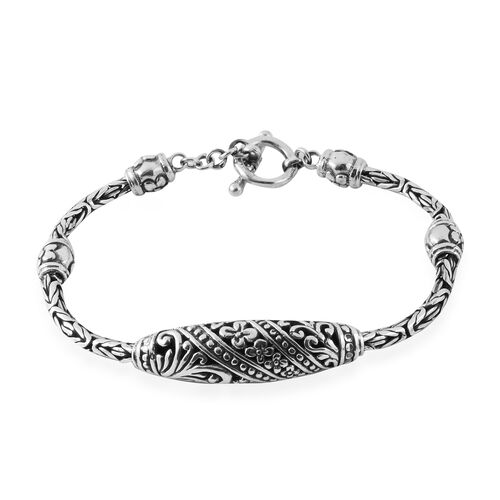 Royal Bali Collection Sterling Silver Flower and Filigree Borobudur Bracelet (Size 7.5), Silver wt 2