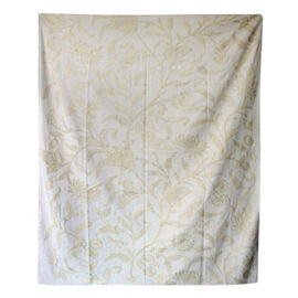 Hand Embroidery from Kashmir-100% Wool on Canvas Beige and Cream Floral and Leaves Pattern Blanket (